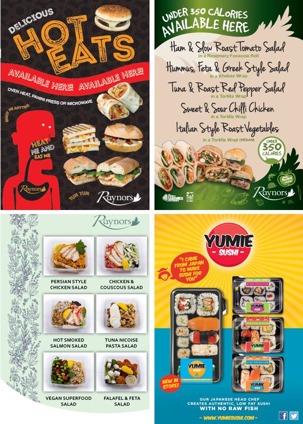 Point of sale and marketing material for retail sandwich companies