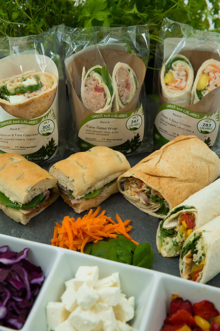 Selection of wraps and rolls from Raynor Foods